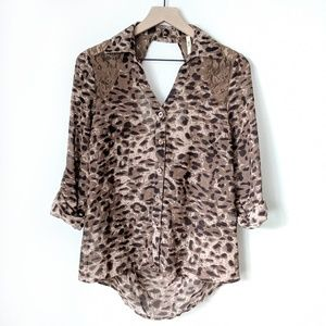 Truth leopard print and lace top - size L